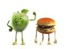 Food character -  apple versus buger Royalty Free Stock Photo