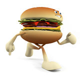 Food character - burger. 3d rendered illustration of a burger character Royalty Free Stock Photo