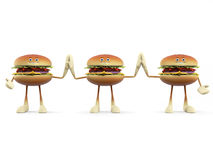 Food character - burger. 3d rendered illustration of a burger character Stock Photos