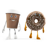 Food character - coffee cup and donut Stock Image