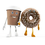 Food character - coffee cup and donut Stock Images