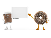 Food character - coffee cup and donut Royalty Free Stock Image