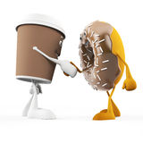 Food character - coffee cup and donut Royalty Free Stock Images