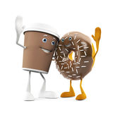 Food character - coffee cup and donut Stock Photos