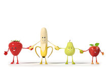 Food character -  fruits Stock Images