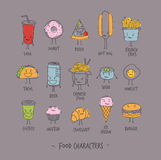 Food characters gray Stock Images