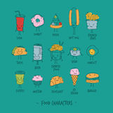 Food characters turquoise Royalty Free Stock Photos