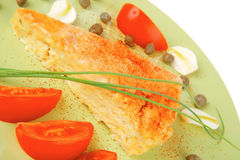 Food : cheese casserole piece on green Stock Photography