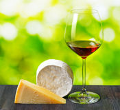 Cheese and glass of wine on nature background stock photos