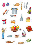 Food chicken pots and kitchen to link buttons colored illustration button or icon for website Royalty Free Stock Photography
