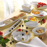 Food in china. Food, snacks, tapas in diffrent china on a table Stock Photo