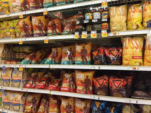Food chips on shelves selling at supermarket Royalty Free Stock Images