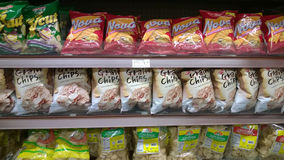 Food Chips on store shelves Royalty Free Stock Images