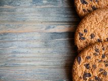 Food chocolate chip cookies wooden background stock photos