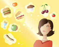 Food choice. An illustration of a woman making a choice between different foods Stock Photo