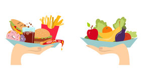 Food choice concept. Two hands with healthy and fresh vegetables and junk unhealthy fast food vector illustration