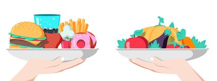 Food choice concept. Two hands with healthy and fresh vegetables and junk unhealthy fast food. Stock Image
