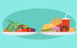 Food choice concept. Two plates with healthy fresh food and junk unhealthy fast food. Concept diet - plate with fruits. And organic versus fast food plate with Stock Image