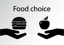 Food choice. Food choice. Healthy and junk eating. Vector illustration vector illustration