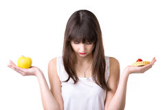 Food Choice For Dieting Woman Stock Photo