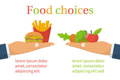 Food choice. Healthy and junk eating. Hand with organic products and a fast food. Diet decision concept and nutrition. Fresh fruit and vegetables or greasy Stock Photo
