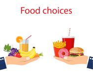 Food choice. Healthy and junk eating. Hand with organic products and a fast food. Diet decision concept and nutrition. Vector illustration in flat style Stock Photo