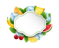 Food Clean Card With Fruits And Berries, Ice Cubes Stock Images