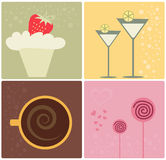 Food clip-art. Stylish food and drinks clip-art Royalty Free Stock Photos