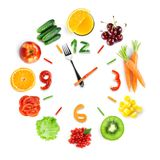 Food clock with fresh fruits and vegetables. Healthy food Royalty Free Stock Photography