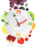 Food clock with fruit Royalty Free Stock Photography