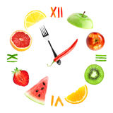 Food clock with fruits Royalty Free Stock Photography