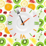Food clock with fruits Royalty Free Stock Photo