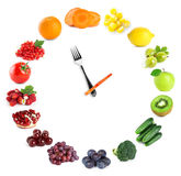 Food clock with fruits and vegetables Royalty Free Stock Image