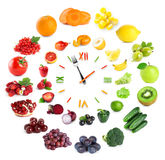 Food clock with fruits and vegetables royalty free stock photo