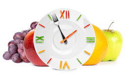 Food clock with fruits Stock Photography