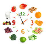 Food clock with healthy food Royalty Free Stock Image