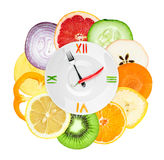Food clock with sliced vegetables and fruits royalty free stock photos