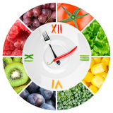 Food clock with vegetables and fruits. Healthy food concept Royalty Free Stock Photography