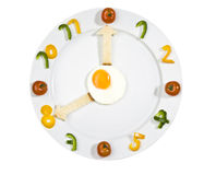 Food clock on white background. Food clock - white plate with numbers made of pepper and arrows made of bread Stock Photography