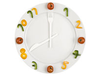 Food clock on white background. Food clock - white plate with numbers made of pepper and arrows made of plastic fork and knife Stock Images