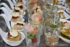 Food cocktai served on  platter for party Stock Photos