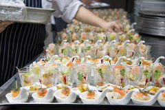 Food cocktai served on  platter for party Royalty Free Stock Images