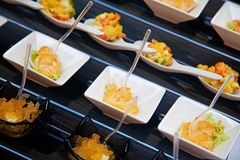 Food for cocktail on wedding party. At hotel royalty free stock images