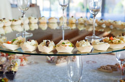 Food for cocktail on wedding party Stock Photos