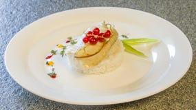 Food, cod, rice, prepared, fish, seafood, fillet, dinner, vegetable, gourmet, color, slice, meal, eating, healthy, grilled, meat, Stock Image