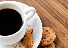Coffee and oatmeal cookies Stock Photo