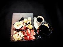 Food coffee restaurant wine meat cheese. Restaurant bar bistro redwine blackcoffee dinner romantic lunch Royalty Free Stock Image