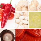 Food Collage. A collage of various food ingredients - vegetables, tomato sauce and pumpkin seeds Royalty Free Stock Photo