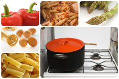 Food collage. A collage with various types of food and kitchen utensils Stock Photography