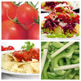 Food collage. Healthy food photos: pasta, salad and tomato Stock Photos